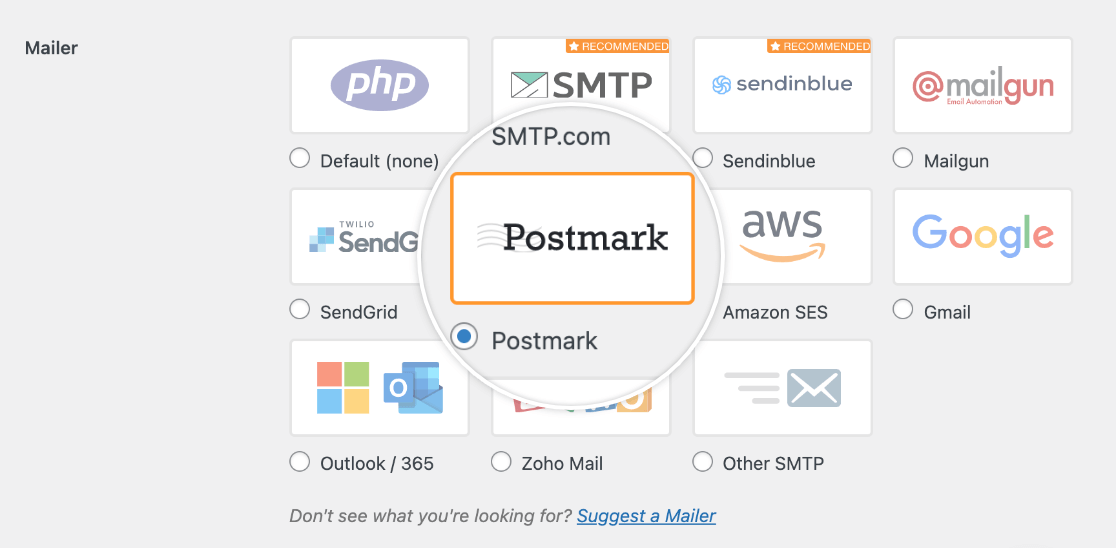 Choosing the Postmark mailer in the WP Mail SMTP settings