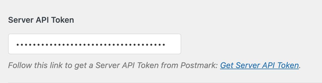 Entering the Postmark Server API Token in the WP Mail SMTP settings