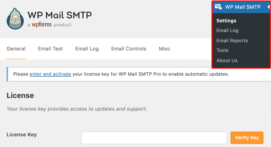 Opening the settings for WP Mail SMTP on a subsite in a multisite network