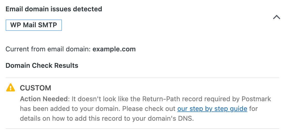 The message that DNS records are not verified for your mailer in the Site Health tool