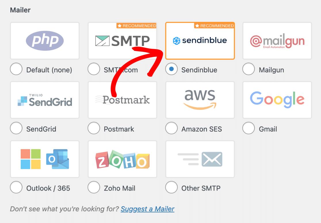 Select the Sendinblue mailer