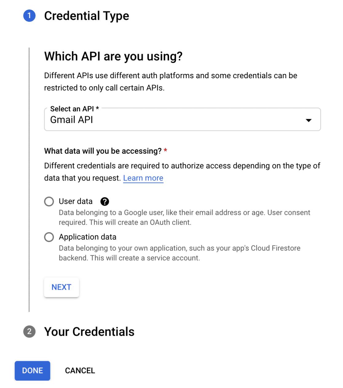 Credential type Google Cloud Platform
