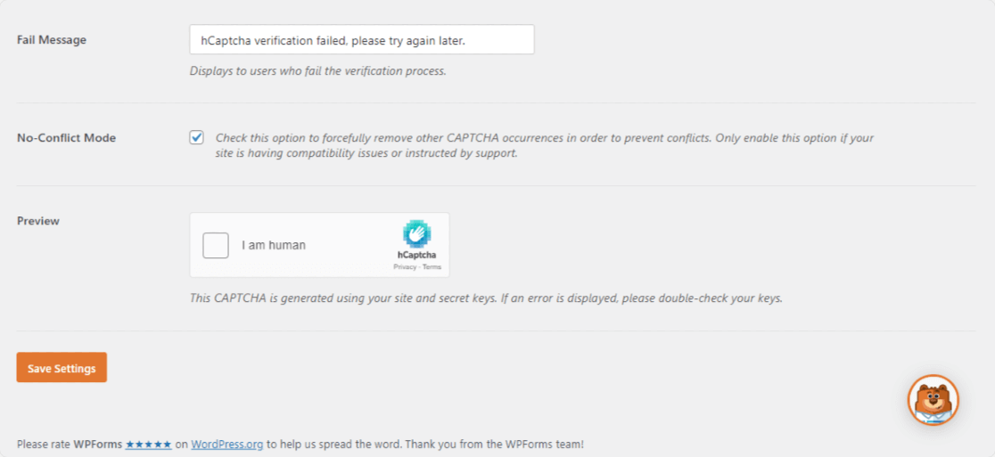 hCaptcha additional settings