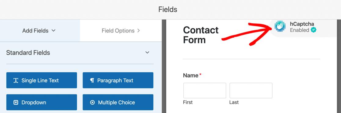 hCaptcha on WordPress form
