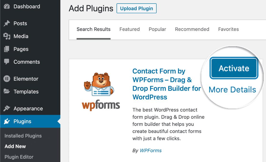 Activate WPForms