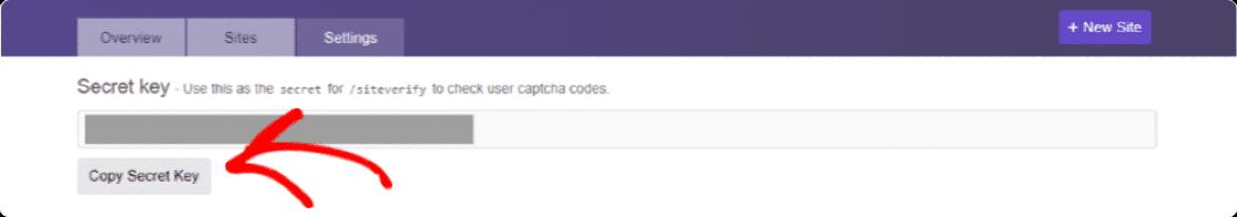 hCaptcha secret key