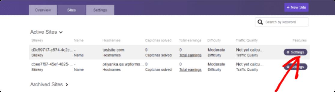 hCaptcha site key settings