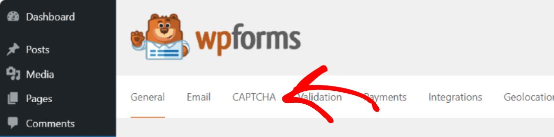 WPForms CAPTCHA settings