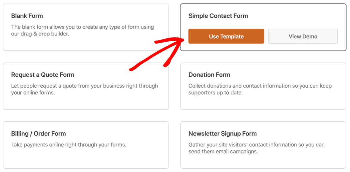WPForms contact form template